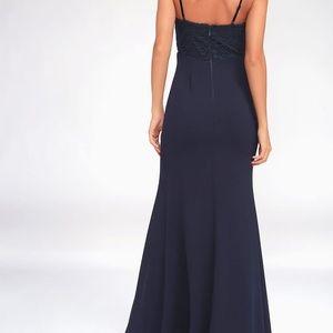 Lulu's Dresses - NWT Navy Blue Lace Maxi Dress
